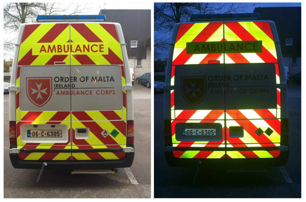 Ambulance reflective wrap de signs for De signs