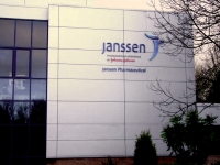 Raised lettering branding for Janssen