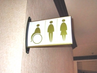 Wall Mounted direction signs for rest rooms